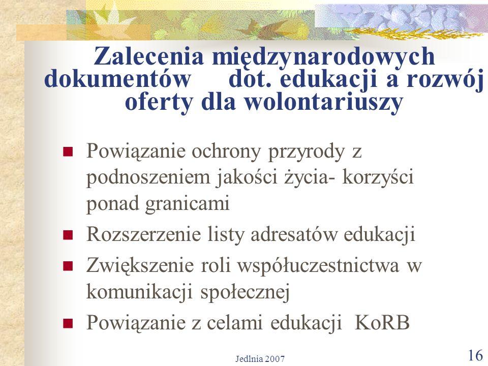 Jedlnia 2007 16 Zalecenia międzynarodowych dokumentów dot.