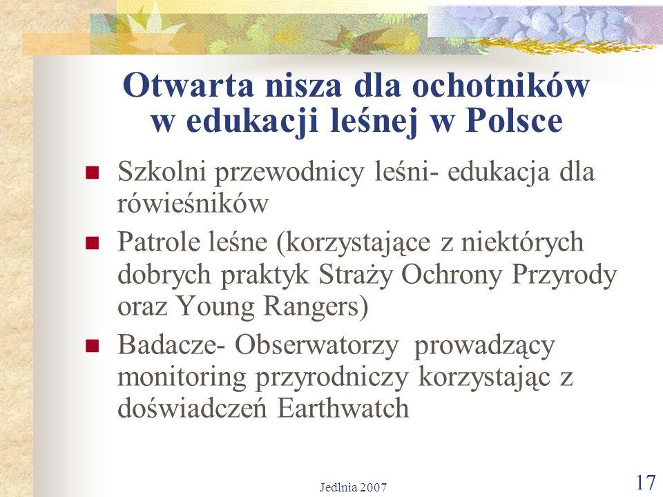 Jedlnia 2007 17 Otwarta nisza dla ochotników w edukacji leśnej w Polsce Szkolni przewodnicy leśni- edukacja dla rówieśników Patrole leśne (korzystające z niektórych dobrych praktyk Straży Ochrony Przyrody oraz Young Rangers) Badacze- Obserwatorzy prowadzący monitoring przyrodniczy korzystając z doświadczeń Earthwatch