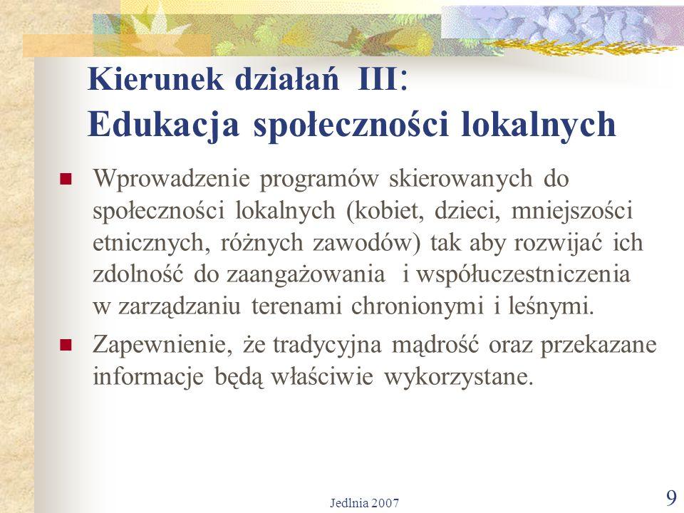 Jedlnia 2007 9 Kierunek działań III : Edukacja społeczności lokalnych Wprowadzenie programów skierowanych do społeczności lokalnych (kobiet, dzieci, mniejszości etnicznych, różnych zawodów) tak aby rozwijać ich zdolność do zaangażowania i współuczestniczenia w zarządzaniu terenami chronionymi i leśnymi.