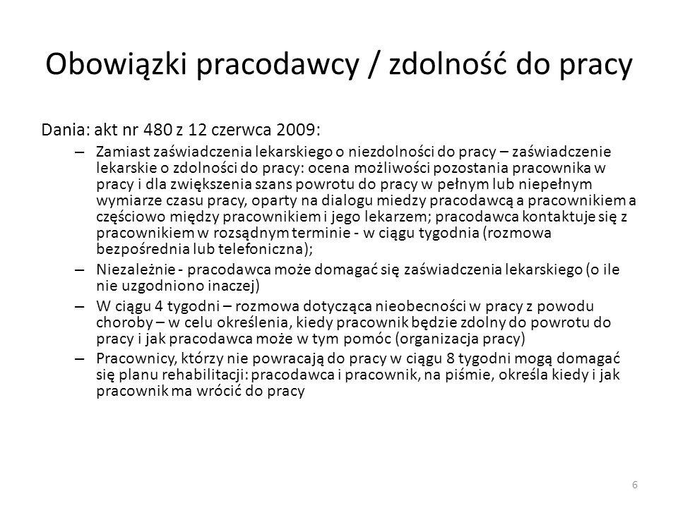 Finlandia (2005 r.): Wielość obowiązujących unormowań prawnych oraz podmiotów odpowiedzialnych za realizację – przyjmuje się, ze podstawowym warunkiem skuteczności jest koordynacja (fińska instytucja ubezpieczeniowa – KELA) W ciągu 60 dni pobierania zasiłku chorobowego – ocena zasadności uruchomienia rozwiązań z zakresu rehabilitacji leczniczej (lokalny oddział KELA) Indywidualny plan rehabilitacji: instytucja ubezpieczeniowa (specjaliści z zakresu rehabilitacji), zainteresowany i jego rodzina, pracodawca – na okres od 1 roku do 3 lat 7