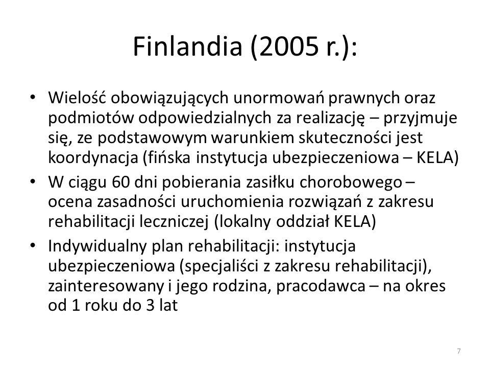 Szwecja (2005) Koordynacja: instytucja ubezpieczenia społecznego Pracodawca (bezrobotni - instytucja ubezpieczenia społecznego) odpowiedzialny za rozpoznanie potrzeby rehabilitacji i przygotowanie planu rehabilitacji (wspólnie z ubezpieczonym) 8