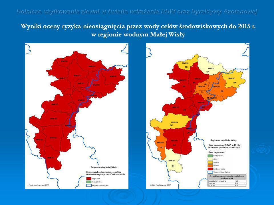 Wyniki oceny ryzyka nieosiągnięcia przez wody celów środowiskowych do 2015 r. w regionie wodnym Małej Wisły