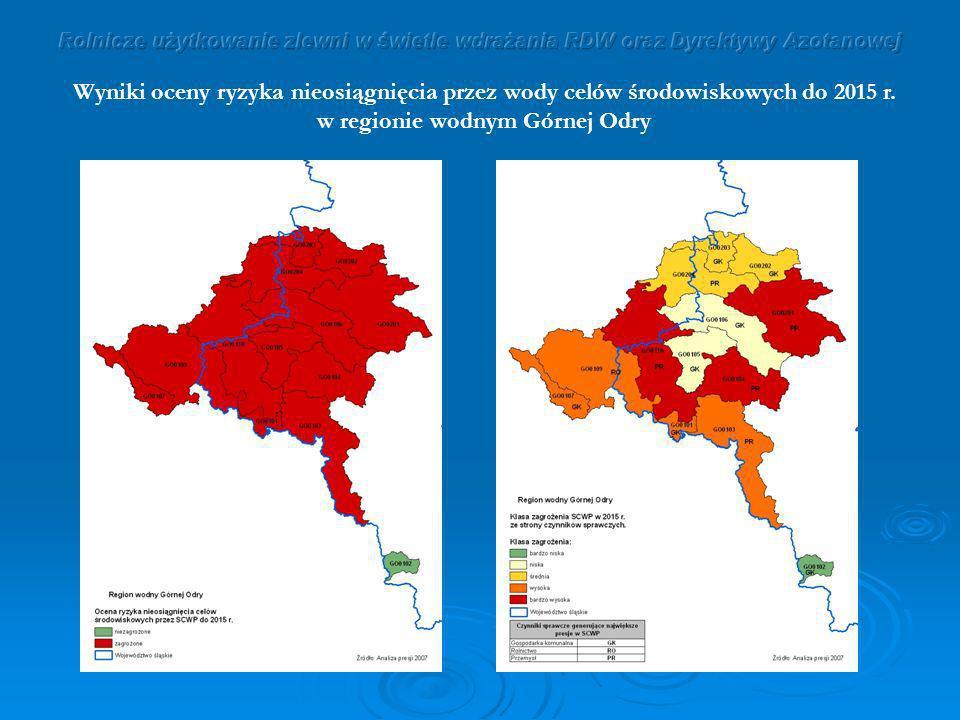 Wyniki oceny ryzyka nieosiągnięcia przez wody celów środowiskowych do 2015 r. w regionie wodnym Górnej Odry