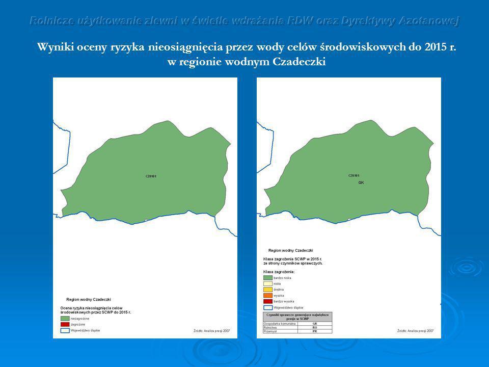 Wyniki oceny ryzyka nieosiągnięcia przez wody celów środowiskowych do 2015 r. w regionie wodnym Czadeczki