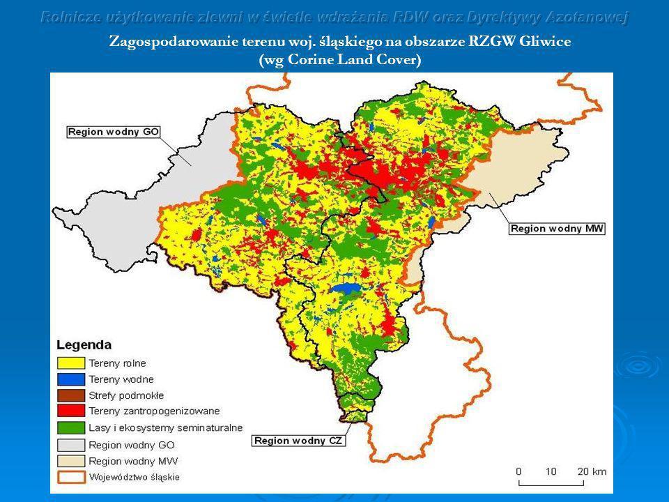 Zagospodarowanie terenu woj. śląskiego na obszarze RZGW Gliwice (wg Corine Land Cover)