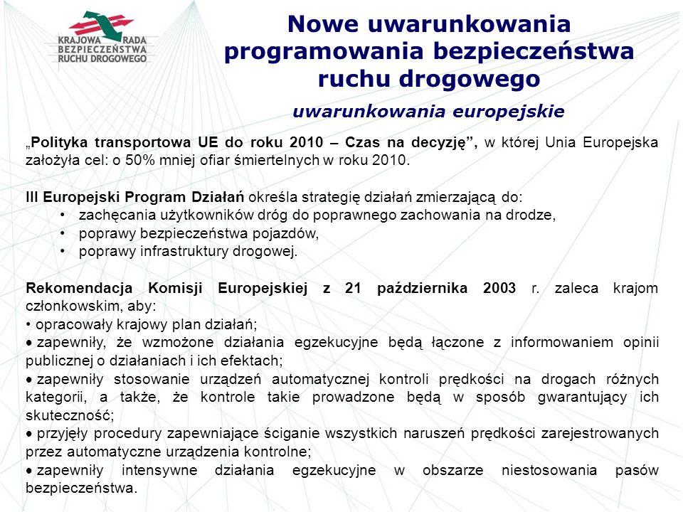 Nowe uwarunkowania programowania bezpieczeństwa ruchu drogowego uwarunkowania europejskie Polityka transportowa UE do roku 2010 – Czas na decyzję, w k