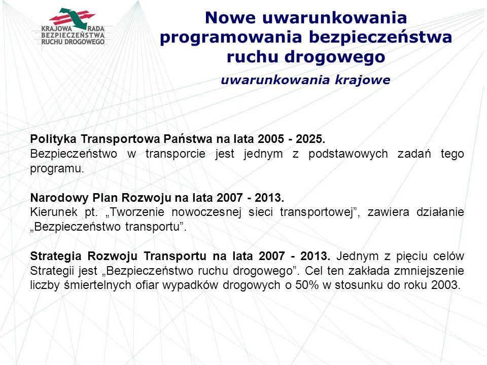 Nowe uwarunkowania programowania bezpieczeństwa ruchu drogowego uwarunkowania krajowe Polityka Transportowa Państwa na lata 2005 - 2025. Bezpieczeństw