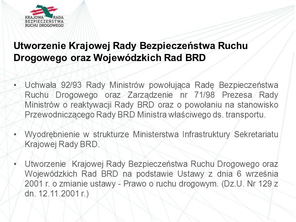 Utworzenie Krajowej Rady Bezpieczeństwa Ruchu Drogowego oraz Wojewódzkich Rad BRD Uchwała 92/93 Rady Ministrów powołująca Radę Bezpieczeństwa Ruchu Dr