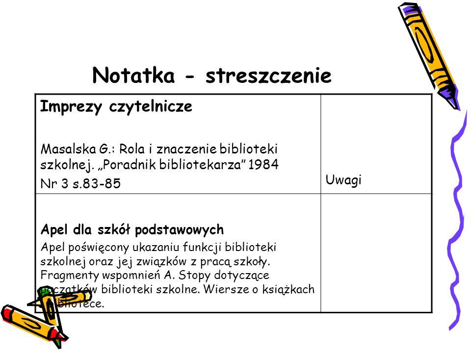 Notatka - streszczenie Imprezy czytelnicze Masalska G.: Rola i znaczenie biblioteki szkolnej. Poradnik bibliotekarza 1984 Nr 3 s.83-85 Uwagi Apel dla