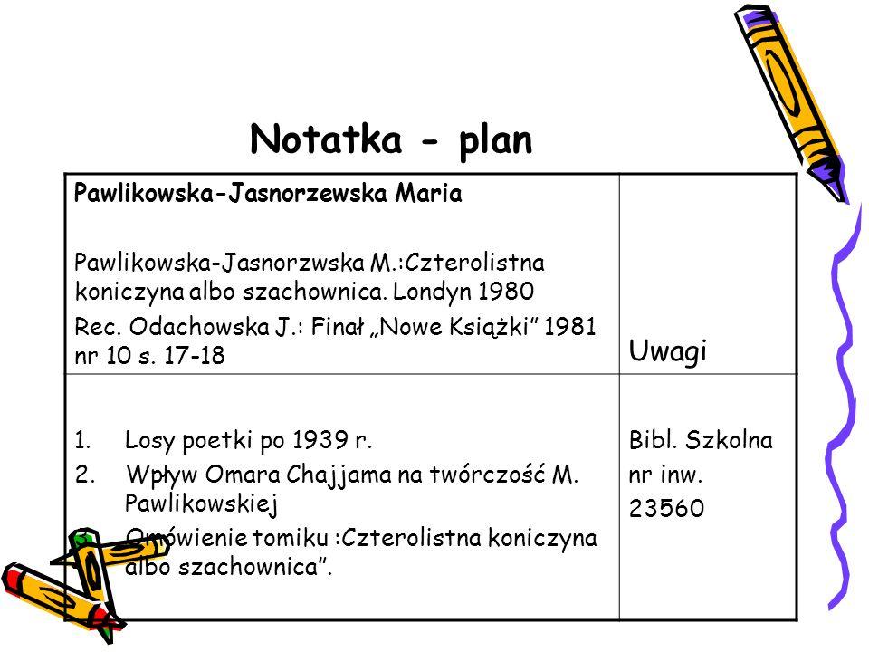Notatka - plan Pawlikowska-Jasnorzewska Maria Pawlikowska-Jasnorzwska M.:Czterolistna koniczyna albo szachownica. Londyn 1980 Rec. Odachowska J.: Fina