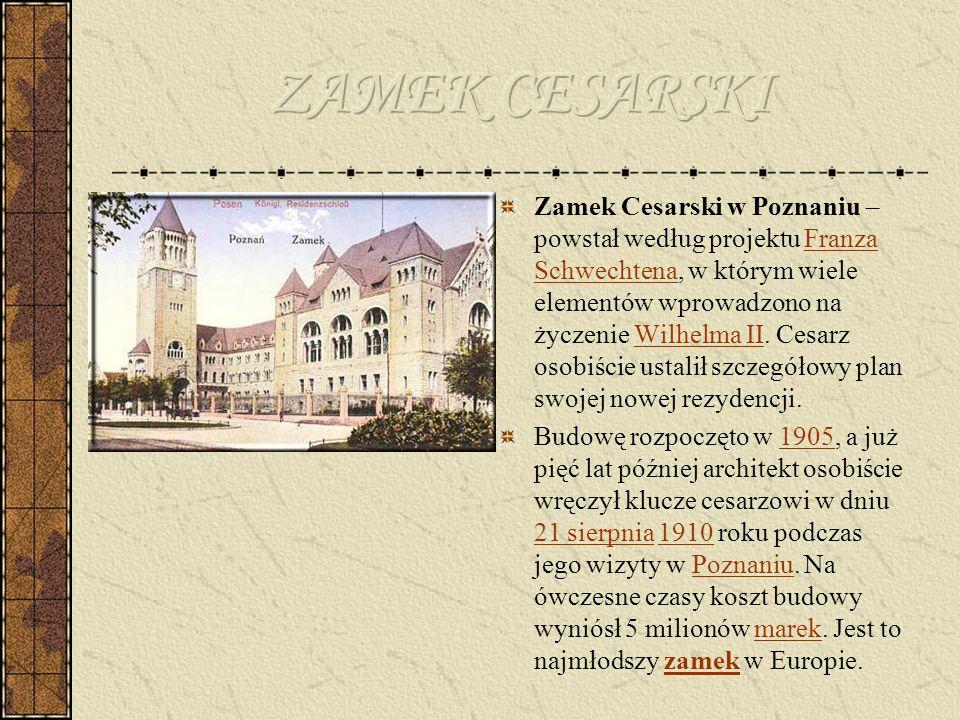 Zamek został wzniesiony na planie nieregularnego wieloboku w stylu neoromańskim uważanym przez cesarza za najbardziej germański i reprezentujący świetność Świętego Cesarstwa Narodu Niemieckiego.