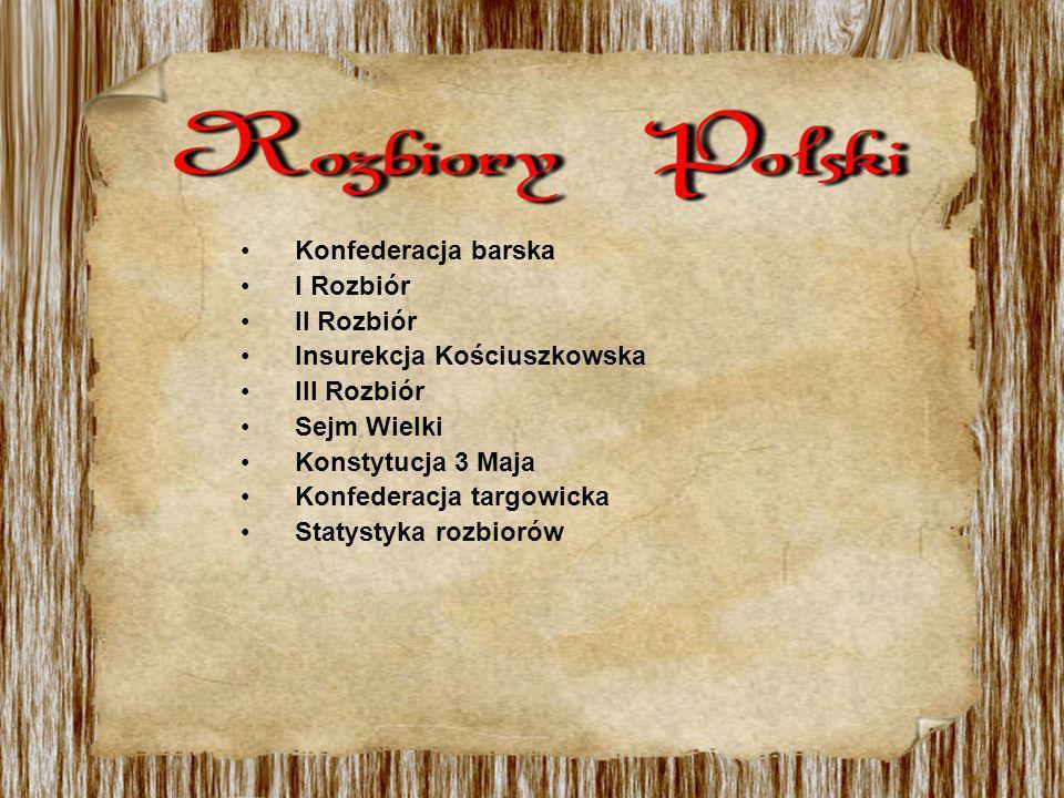 Konfederacja barska I Rozbiór II Rozbiór Insurekcja Kościuszkowska III Rozbiór Sejm Wielki Konstytucja 3 Maja Konfederacja targowicka Statystyka rozbi