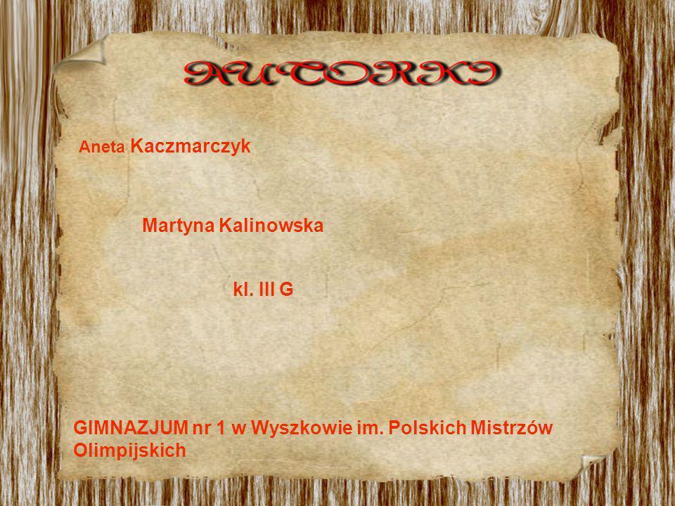 Aneta Kaczmarczyk Martyna Kalinowska kl. III G GIMNAZJUM nr 1 w Wyszkowie im. Polskich Mistrzów Olimpijskich