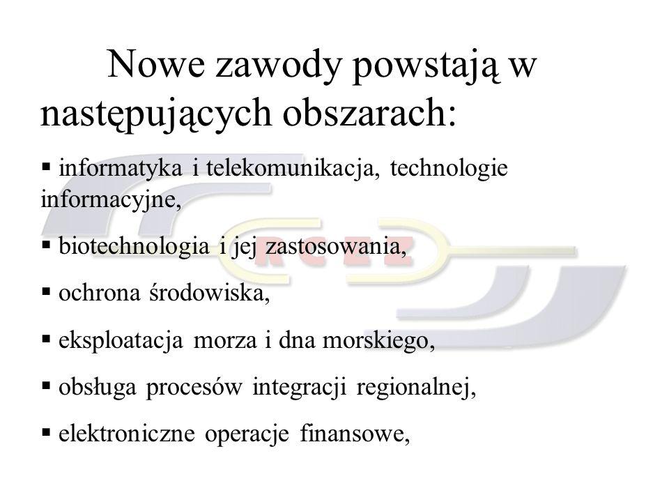Nowe zawody powstają w następujących obszarach: informatyka i telekomunikacja, technologie informacyjne, biotechnologia i jej zastosowania, ochrona śr