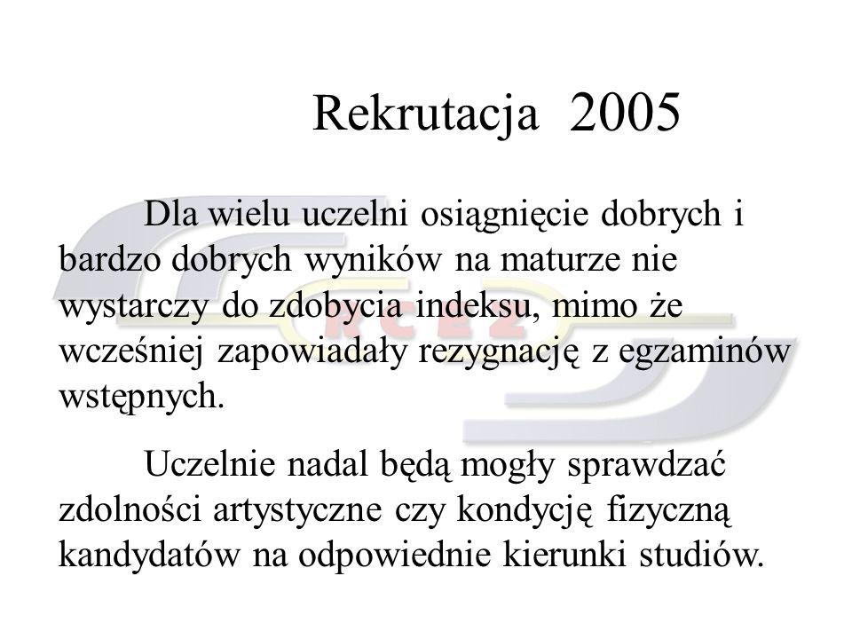 Rekrutacja 2005 Dla wielu uczelni osiągnięcie dobrych i bardzo dobrych wyników na maturze nie wystarczy do zdobycia indeksu, mimo że wcześniej zapowia