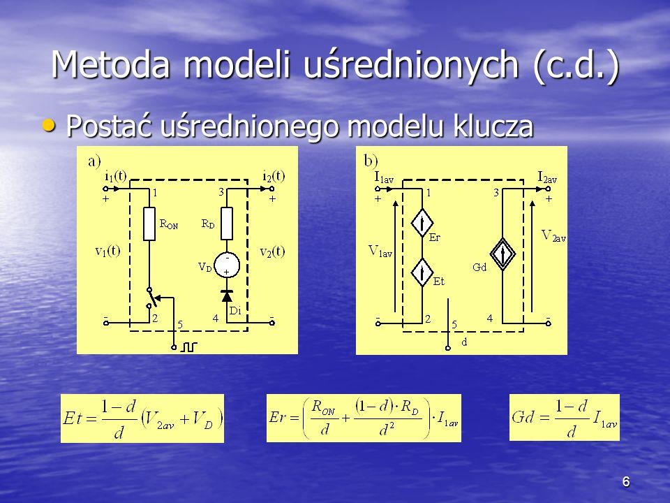 7 Wyniki analiz Wyznaczono charakterystyki przetwornicy boost w stanie ustalonym przy wykorzystaniu: Wyznaczono charakterystyki przetwornicy boost w stanie ustalonym przy wykorzystaniu: –Analizy stanów przejściowych z modelami tranzystora i diody wbudowanymi w programie SPICE (linie ciągłe) –Analizy stałoprądowej z uśrednionym modelem klucza diodowo-tranzystorowego (linie kreskowe) Badano wpływ częstotliwości i współczynnika wypełnienia sygnału sterującego oraz rezystancji obciążenia na napięcie wyjściowe i sprawność przetwornicy oraz na moce wydzielane w elementach półprzewodnikowych Badano wpływ częstotliwości i współczynnika wypełnienia sygnału sterującego oraz rezystancji obciążenia na napięcie wyjściowe i sprawność przetwornicy oraz na moce wydzielane w elementach półprzewodnikowych