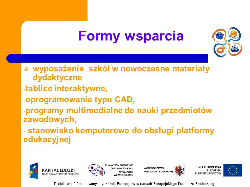 Formy wsparcia wyposażenie szkół w nowoczesne materiały dydaktyczne - tablice interaktywne, - oprogramowanie typu CAD, - programy multimedialne do nauki przedmiotów zawodowych, - stanowisko komputerowe do obsługi platformy edukacyjnej Projekt współfinansowany przez Unię Europejską w ramach Europejskiego Funduszu Społecznego