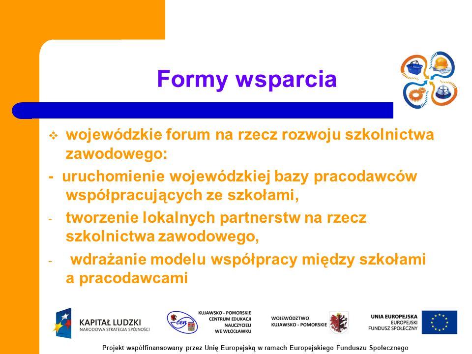 Formy wsparcia wojewódzkie forum na rzecz rozwoju szkolnictwa zawodowego: - uruchomienie wojewódzkiej bazy pracodawców współpracujących ze szkołami, - tworzenie lokalnych partnerstw na rzecz szkolnictwa zawodowego, - wdrażanie modelu współpracy między szkołami a pracodawcami Projekt współfinansowany przez Unię Europejską w ramach Europejskiego Funduszu Społecznego
