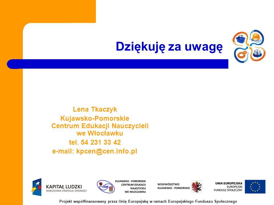 Dziękuję za uwagę Lena Tkaczyk Kujawsko-Pomorskie Centrum Edukacji Nauczycieli we Włocławku tel.