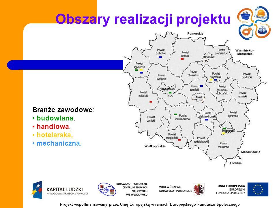 Obszary realizacji projektu Branże zawodowe: budowlana, handlowa, hotelarska, mechaniczna.