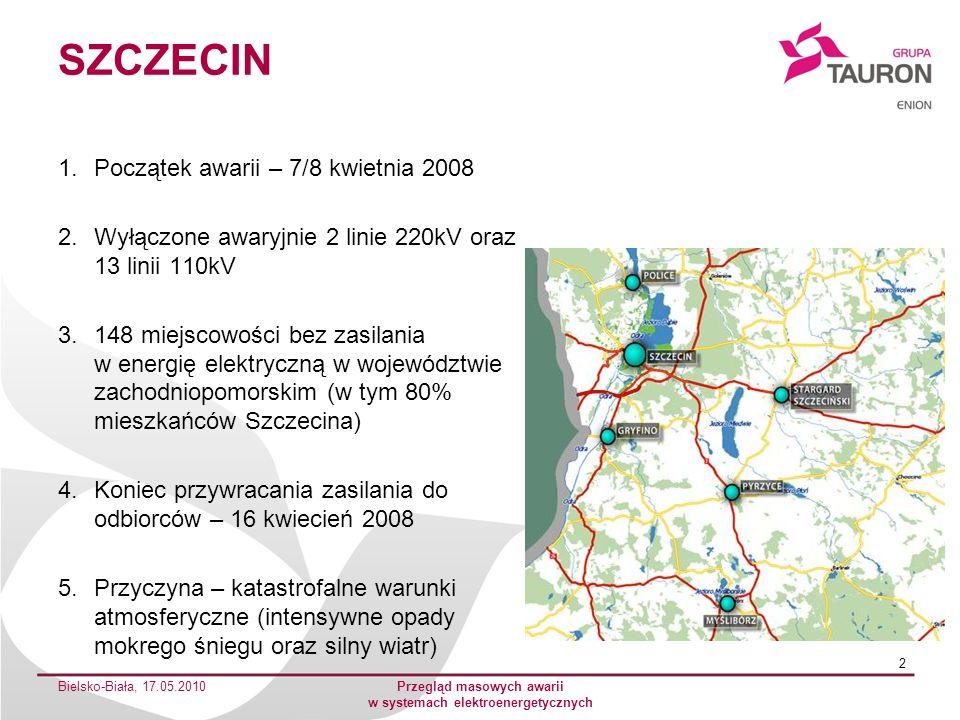 POŁUDNIOWA POLSKA 1.Początek awarii – 14 październik 2009 2.Wyłączone awaryjnie 19 linii 110kV oraz 297 linii SN 3.W szczytowym okresie uszkodzeń pozbawionych napięcia było ok.
