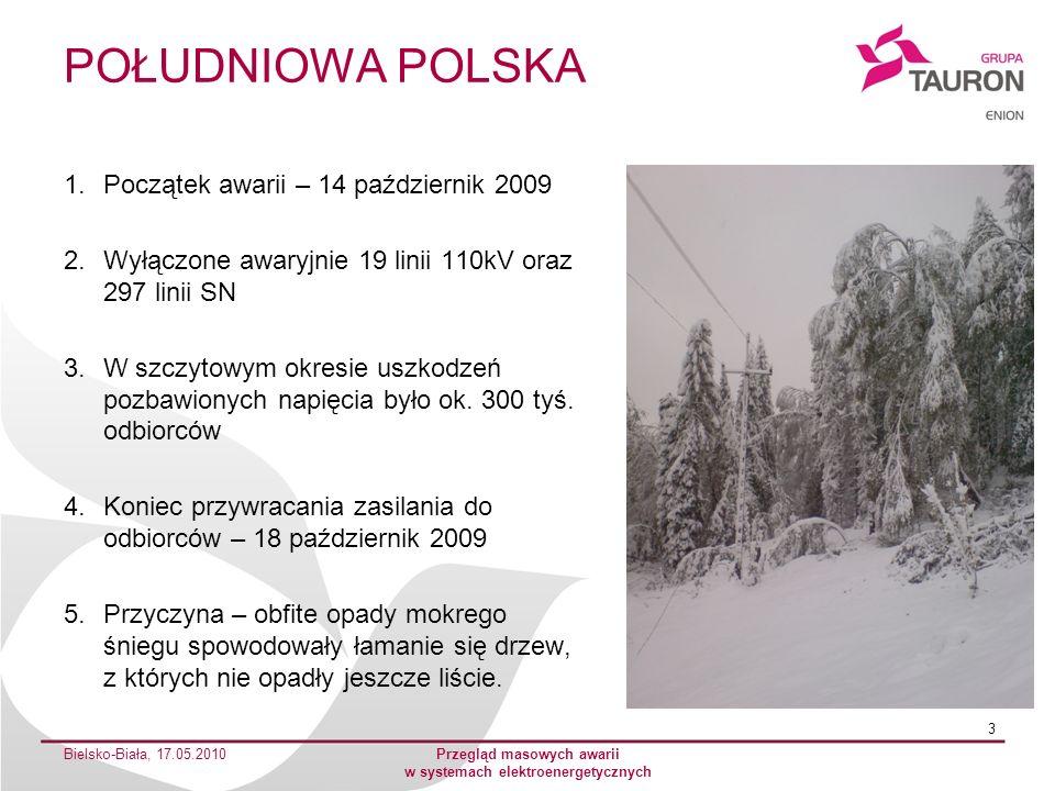 POŁUDNIOWA POLSKA 1.Początek awarii – 14 październik 2009 2.Wyłączone awaryjnie 19 linii 110kV oraz 297 linii SN 3.W szczytowym okresie uszkodzeń pozb
