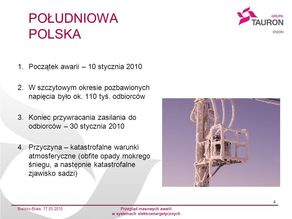 UKRAINA 1.Początek awarii – listopad 2000 roku 2.W szczytowym okresie uszkodzeń pozbawionych napięcia było ok.