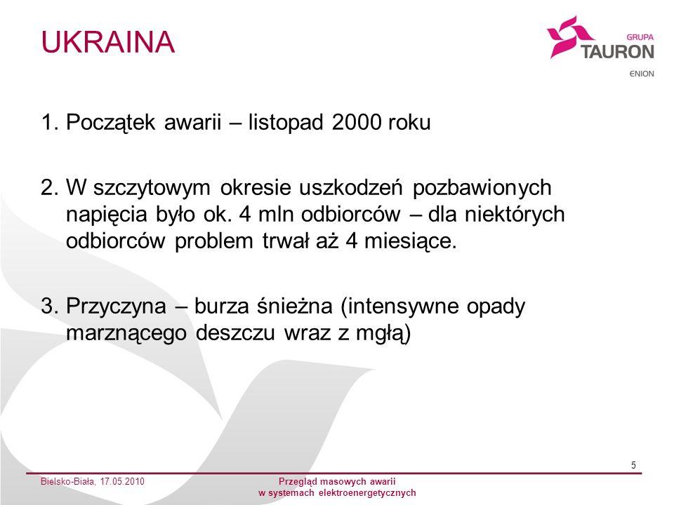 UKRAINA 1.Początek awarii – listopad 2000 roku 2.W szczytowym okresie uszkodzeń pozbawionych napięcia było ok. 4 mln odbiorców – dla niektórych odbior