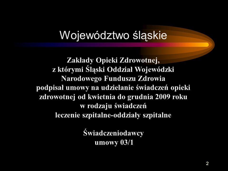Śląski Oddział Wojewódzki NARODOWEGO FUNDUSZU ZDROWIA z siedzibą w Katowicach Zabiegi rehabilitacyjne 63