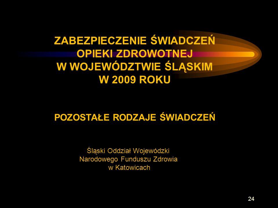 ZABEZPIECZENIE ŚWIADCZEŃ OPIEKI ZDROWOTNEJ W WOJEWÓDZTWIE ŚLĄSKIM W 2009 ROKU POZOSTAŁE RODZAJE ŚWIADCZEŃ Śląski Oddział Wojewódzki Narodowego Funduszu Zdrowia w Katowicach 24
