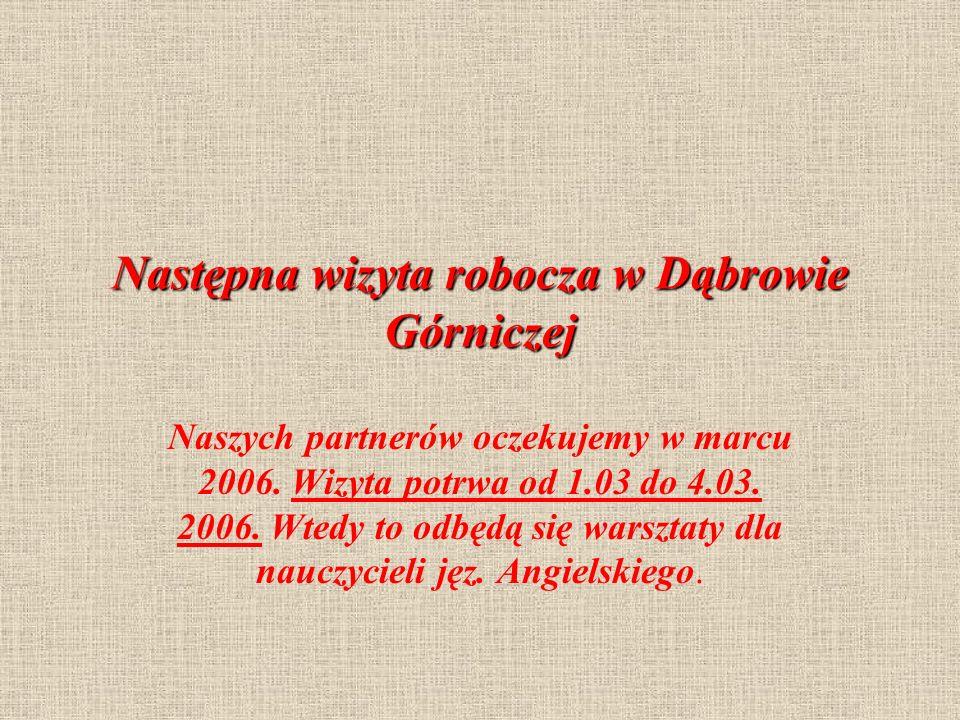 Następna wizyta robocza w Dąbrowie Górniczej Naszych partnerów oczekujemy w marcu 2006.