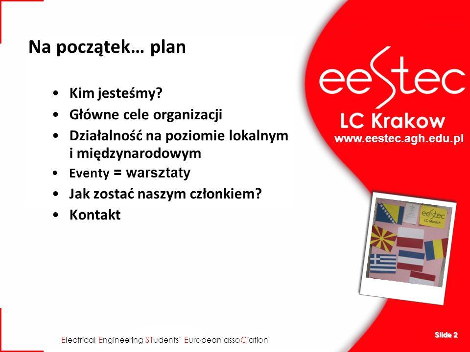 www.eestec.agh.edu.pl E lectrical E ngineering ST udents E uropean asso C iation Slide 2 Na początek… plan Kim jesteśmy? Główne cele organizacji Dział