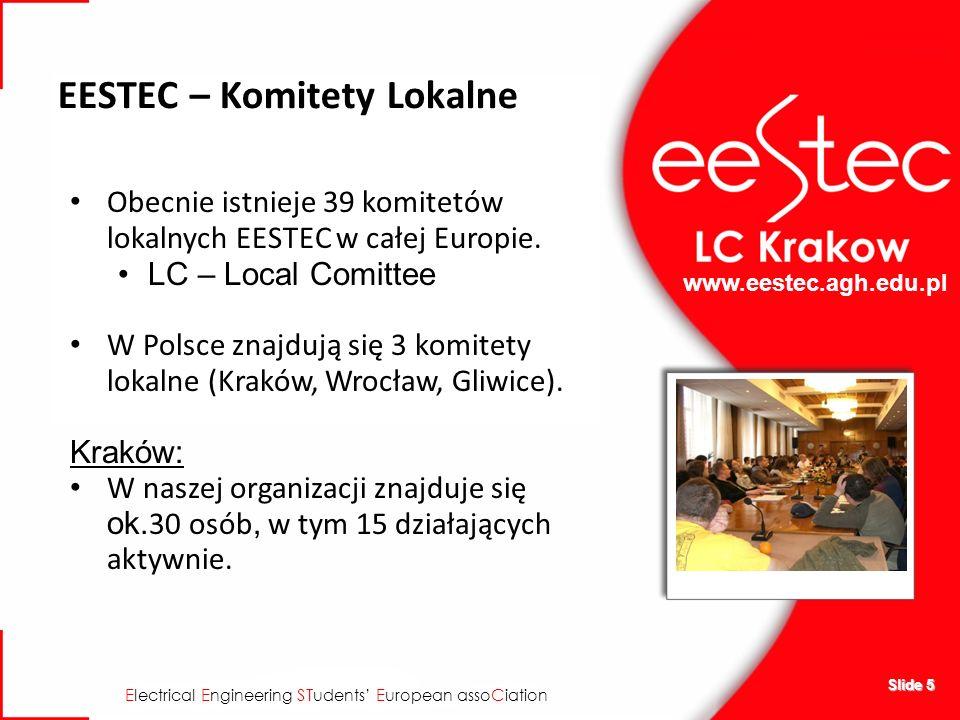 www.eestec.agh.edu.pl E lectrical E ngineering ST udents E uropean asso C iation Slide 5 EESTEC – Komitety Lokalne Obecnie istnieje 39 komitetów lokalnych EESTEC w całej Europie.