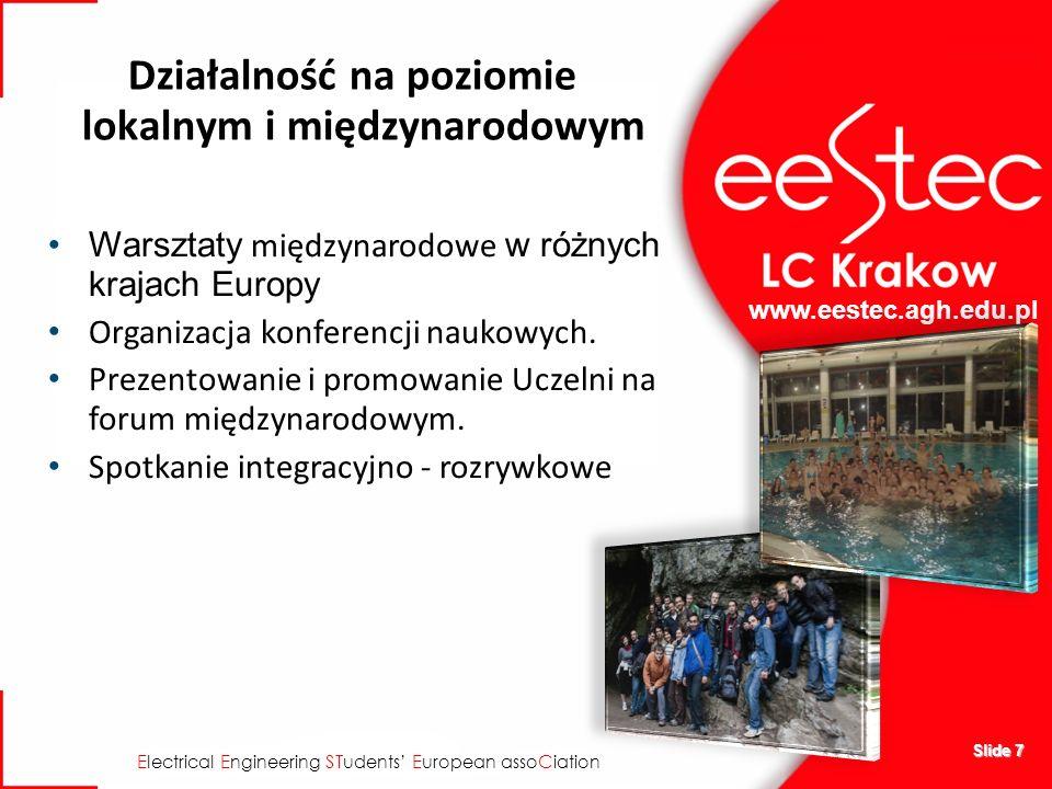www.eestec.agh.edu.pl E lectrical E ngineering ST udents E uropean asso C iation Slide 7 Działalność na poziomie lokalnym i międzynarodowym Warsztaty