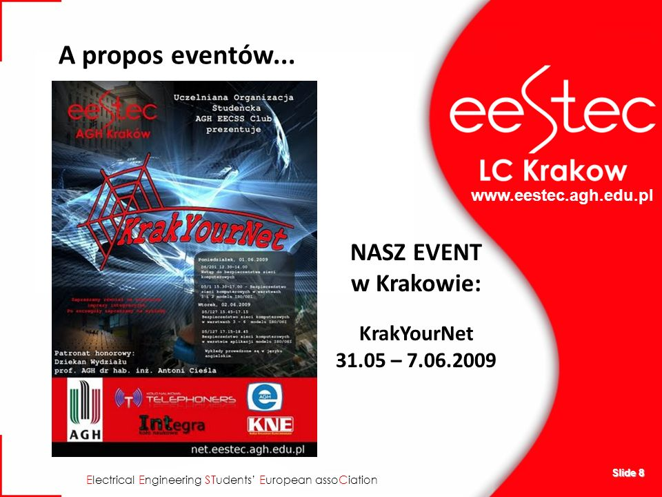 www.eestec.agh.edu.pl E lectrical E ngineering ST udents E uropean asso C iation Slide 8 A propos eventów... NASZ EVENT w Krakowie: KrakYourNet 31.05