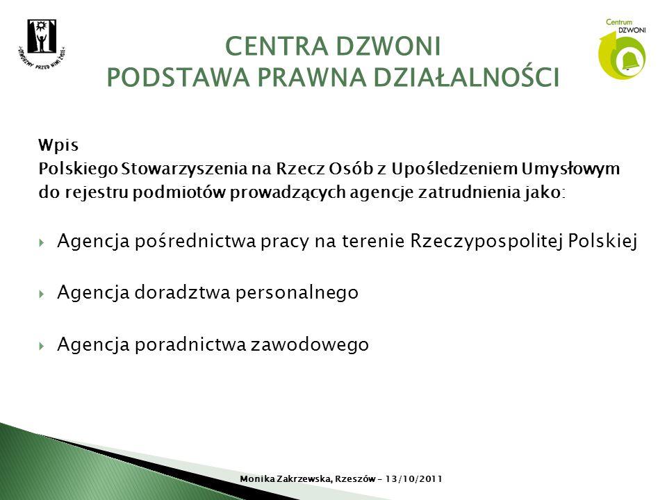 Wpis Polskiego Stowarzyszenia na Rzecz Osób z Upośledzeniem Umysłowym do rejestru podmiotów prowadzących agencje zatrudnienia jako: Agencja pośrednict