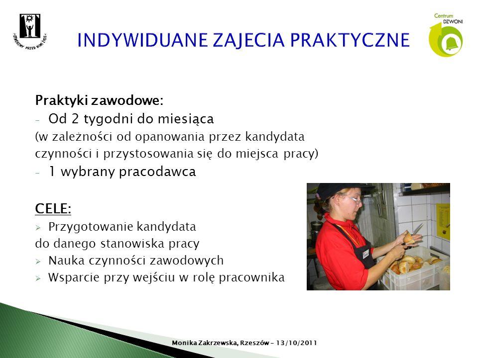 Praktyki zawodowe: - Od 2 tygodni do miesiąca (w zależności od opanowania przez kandydata czynności i przystosowania się do miejsca pracy) - 1 wybrany