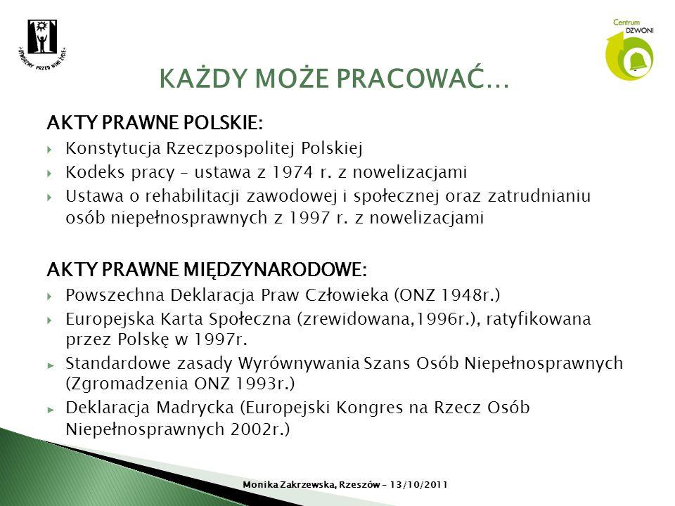 AKTY PRAWNE POLSKIE: Konstytucja Rzeczpospolitej Polskiej Kodeks pracy – ustawa z 1974 r. z nowelizacjami Ustawa o rehabilitacji zawodowej i społeczne