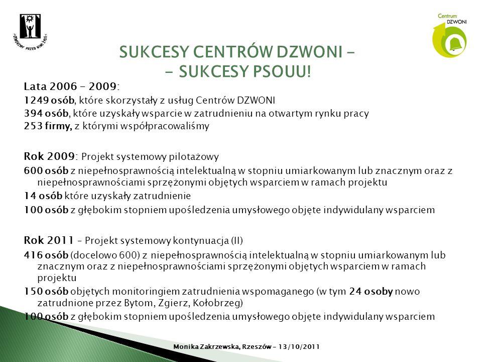 Lata 2006 – 2009: 1249 osób, które skorzystały z usług Centrów DZWONI 394 osób, które uzyskały wsparcie w zatrudnieniu na otwartym rynku pracy 253 fir