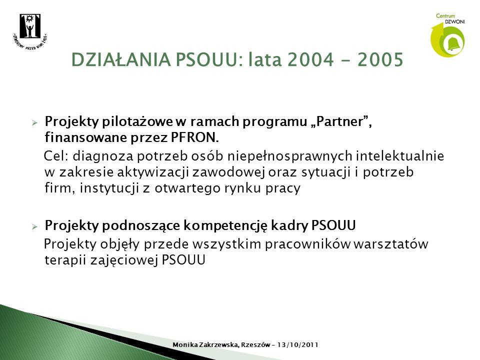 Projekty pilotażowe w ramach programu Partner, finansowane przez PFRON. Cel: diagnoza potrzeb osób niepełnosprawnych intelektualnie w zakresie aktywiz