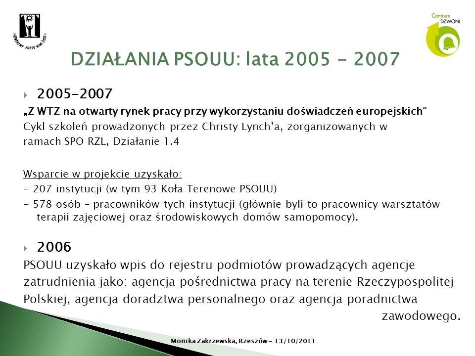 2005-2007 Z WTZ na otwarty rynek pracy przy wykorzystaniu doświadczeń europejskich Cykl szkoleń prowadzonych przez Christy Lyncha, zorganizowanych w r