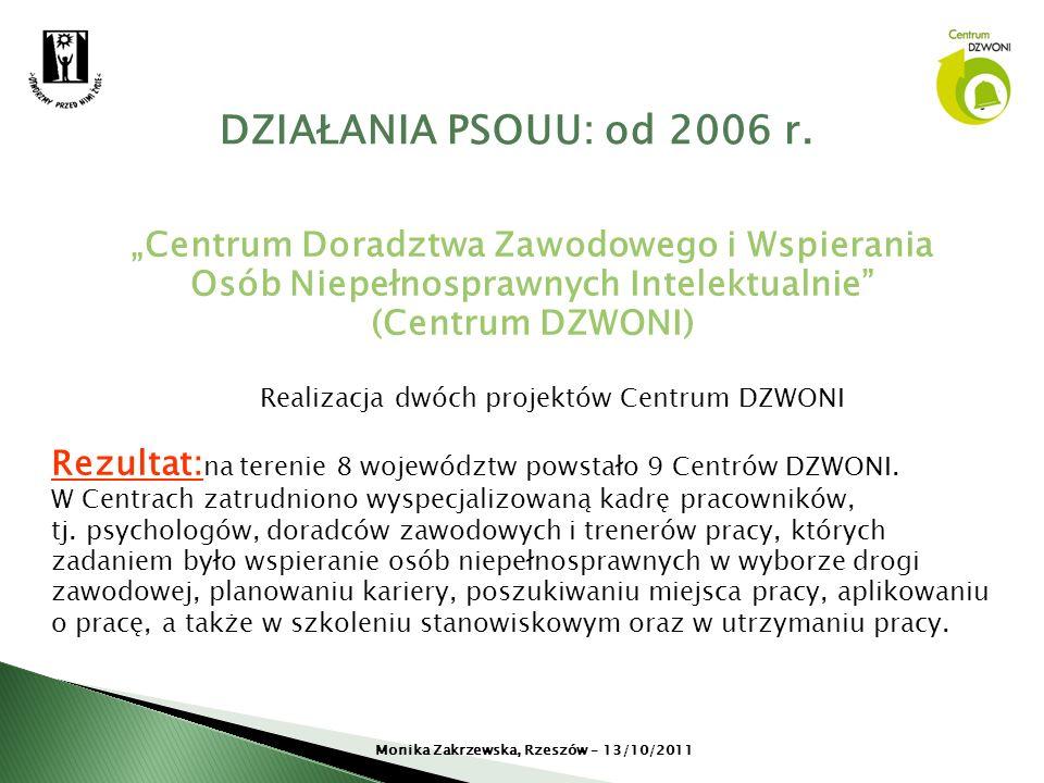 Centrum Doradztwa Zawodowego i Wspierania Osób Niepełnosprawnych Intelektualnie (Centrum DZWONI) Realizacja dwóch projektów Centrum DZWONI Rezultat: n