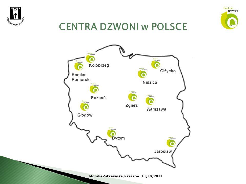 CENTRA DZWONI w POLSCE Monika Zakrzewska, Rzeszów 13/10/2011 Jarosław Giżycko Głogów Poznań Nidzica Kołobrzeg Kamień Pomorski Zgierz Bytom Warszawa