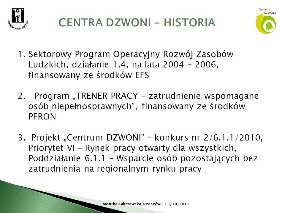 CENTRA DZWONI - HISTORIA Monika Zakrzewska, Rzeszów – 13/10/2011 1. Sektorowy Program Operacyjny Rozwój Zasobów Ludzkich, działanie 1.4, na lata 2004