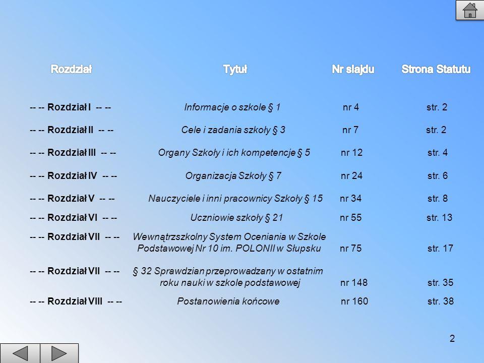 2 -- -- Rozdział I -- -- Informacje o szkole § 1 nr 4 str. 2 -- -- Rozdział II -- -- Cele i zadania szkoły § 3 nr 7 str. 2 -- -- Rozdział III -- -- Or