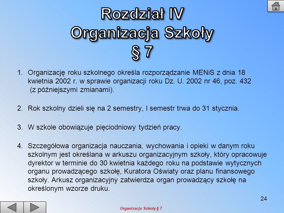 1.Organizację roku szkolnego określa rozporządzanie MENiS z dnia 18 kwietnia 2002 r. w sprawie organizacji roku Dz. U. 2002 nr 46, poz. 432 (z później