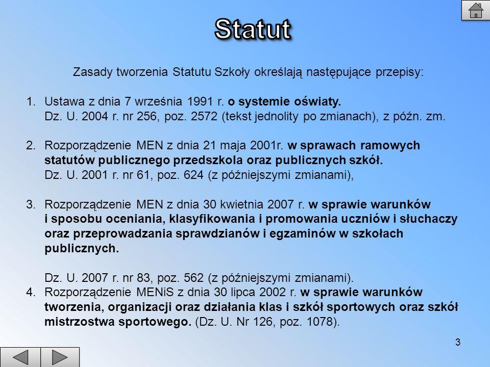 3 Zasady tworzenia Statutu Szkoły określają następujące przepisy: 1.Ustawa z dnia 7 września 1991 r. o systemie oświaty. Dz. U. 2004 r. nr 256, poz. 2