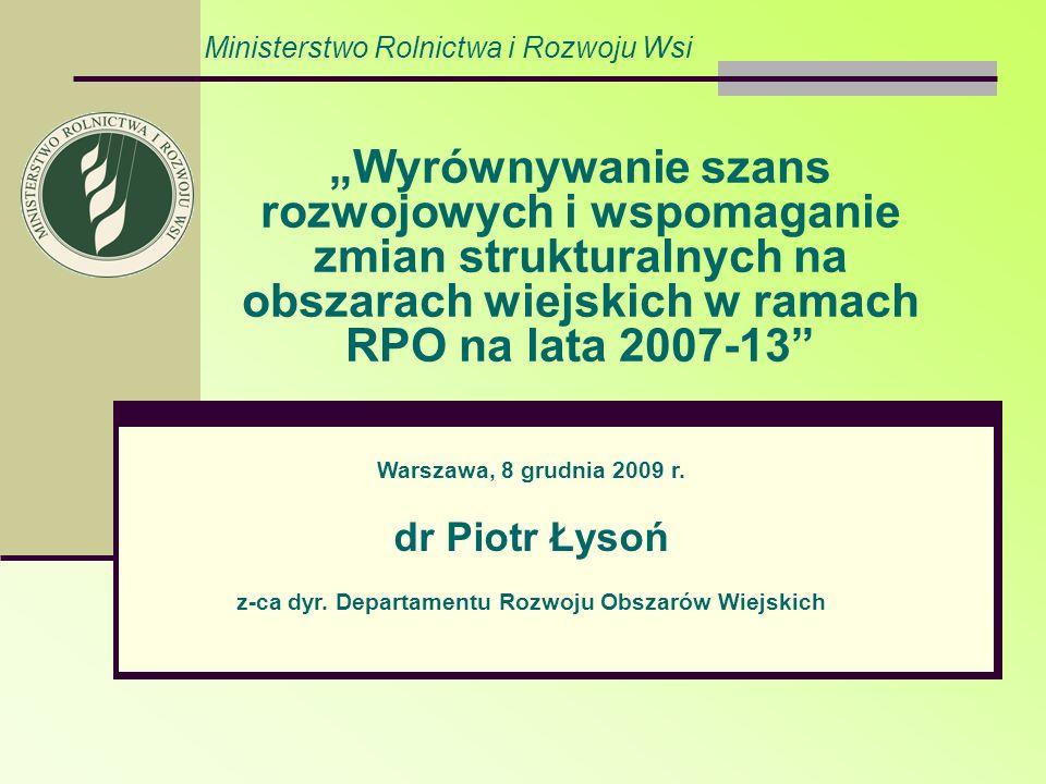 12 Cele horyzontalne Narodowych Strategicznych Ram Odniesienia 1.Poprawa jakości funkcjonowania instytucji publicznych oraz rozbudowa mechanizmów partnerstwa 2.Poprawa jakości kapitału ludzkiego i zwiększenie spójności społecznej 3.Budowa i modernizacja infrastruktury technicznej i społecznej mającej podstawowe znaczenie dla wzrostu konkurencyjności Polski 4.Podniesienie konkurencyjności i innowacyjności przedsiębiorstw, w tym szczególnie sektora wytwórczego o wysokiej wartości dodanej oraz rozwój sektora usług 5.Wzrost konkurencyjności polskich regionów i przeciwdziałanie ich marginalizacji społecznej, gospodarczej i przestrzennej 6.Wyrównywanie szans rozwojowych i wspomaganie zmian strukturalnych na obszarach wiejskich