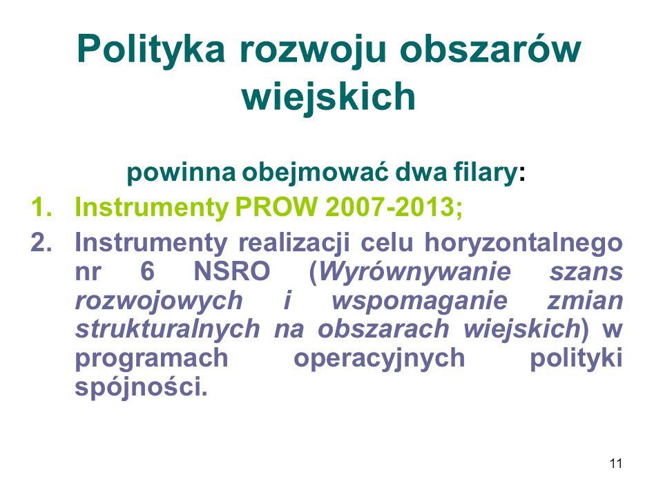 11 Polityka rozwoju obszarów wiejskich powinna obejmować dwa filary: 1.Instrumenty PROW 2007-2013; 2.Instrumenty realizacji celu horyzontalnego nr 6 N