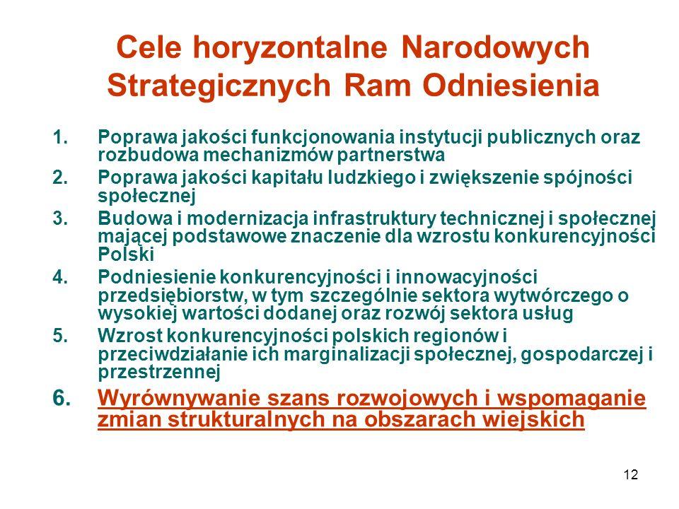 12 Cele horyzontalne Narodowych Strategicznych Ram Odniesienia 1.Poprawa jakości funkcjonowania instytucji publicznych oraz rozbudowa mechanizmów part